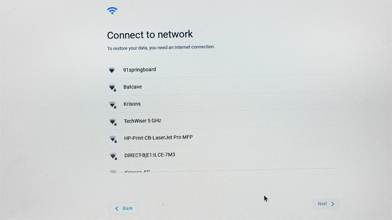 Cloudready installation connect to network screen