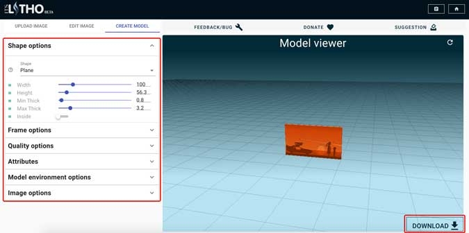 select a model and adjust the settings for the model