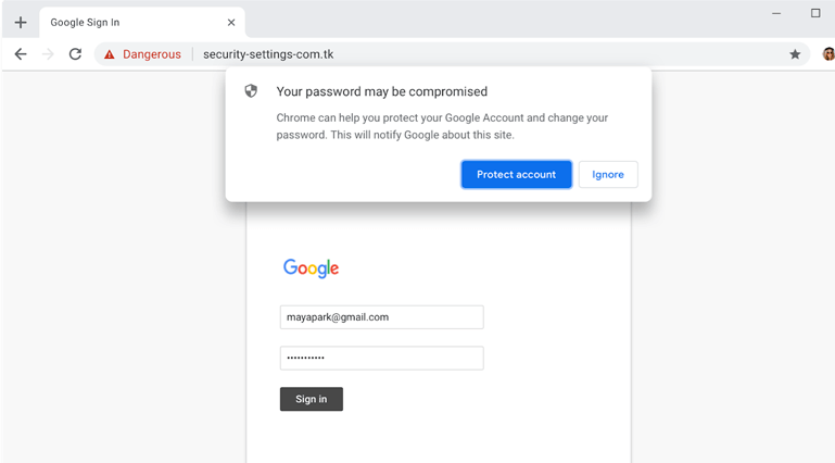 Prompt for new Password, when there is any security risk