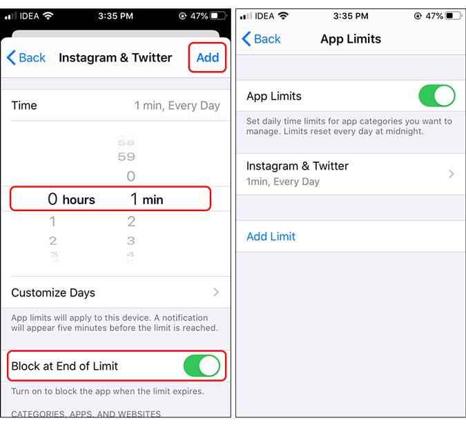 block at the end of time limit that is set to one minute - lock app on iphone