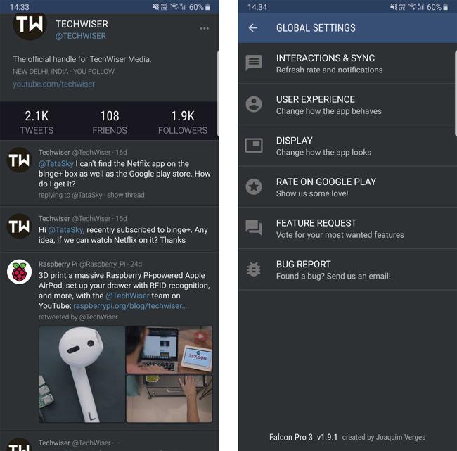 Falcon Pro 3 Twitter App