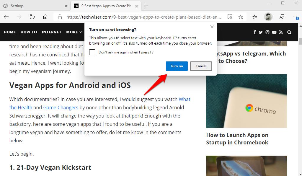 activating caret browsing in edge chromium browser