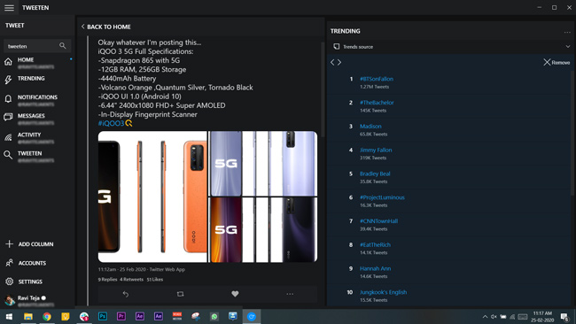 tweeten app on windows showing hashtags and trends in a separate column