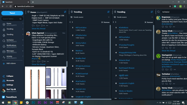 tweet deck client on a web browser showing multiple cloumns