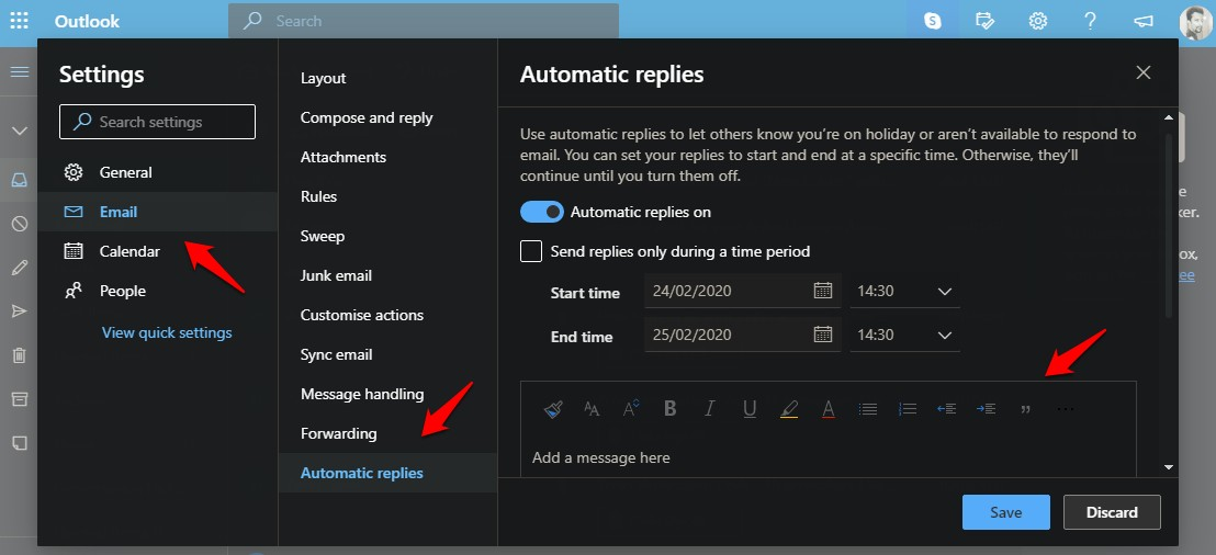 set out of office message in outlook