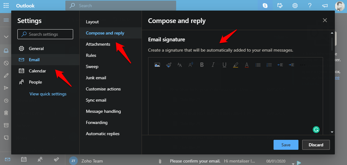 adding signature in outlook