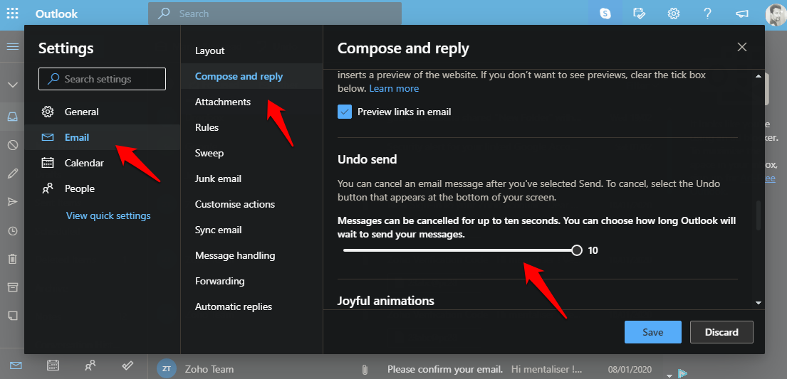 undo or recall sent email setting in outlook
