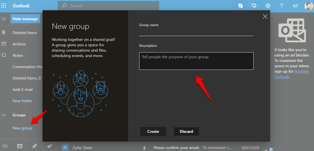 creating contact group in outlook