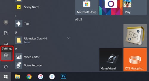 press the settings button on the bottom of Start menu