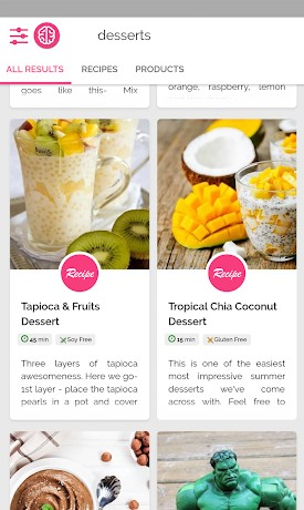 find vegan recipes, alternatives, filter by tolerance