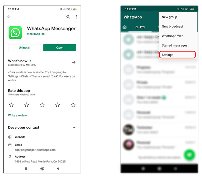 settings page in WhatsApp