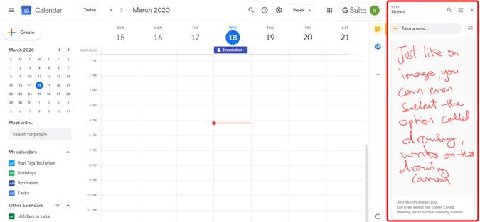 Using Google Keep addon on the Google calendar