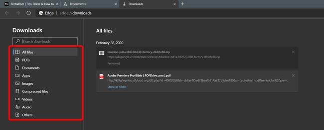 Download organization in Edge Chromium