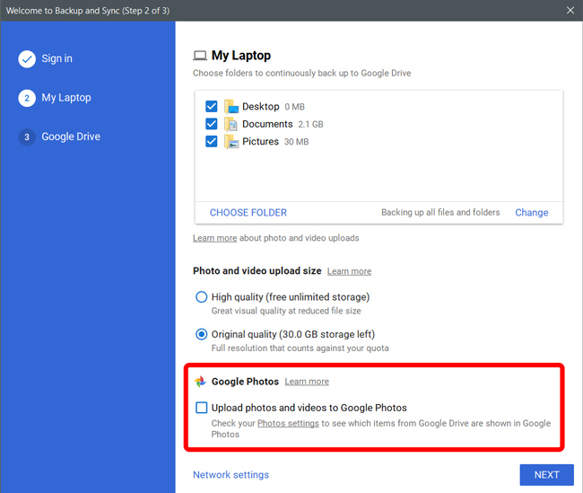 Backing up photos and videos to Google Photos on Widows