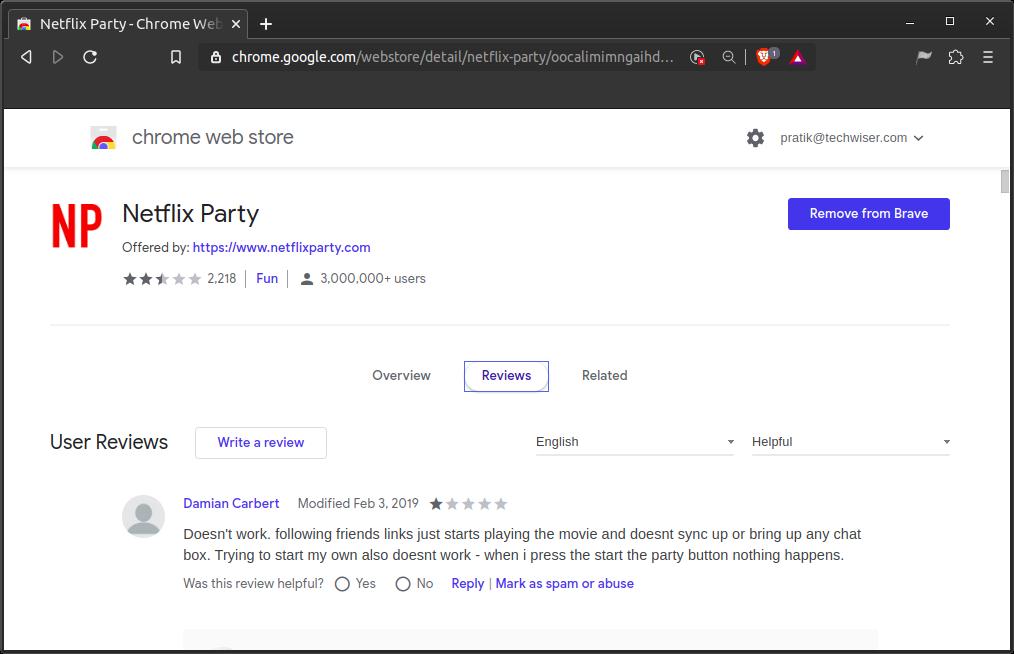 netflix-party-chrome-extension-bad-reviews