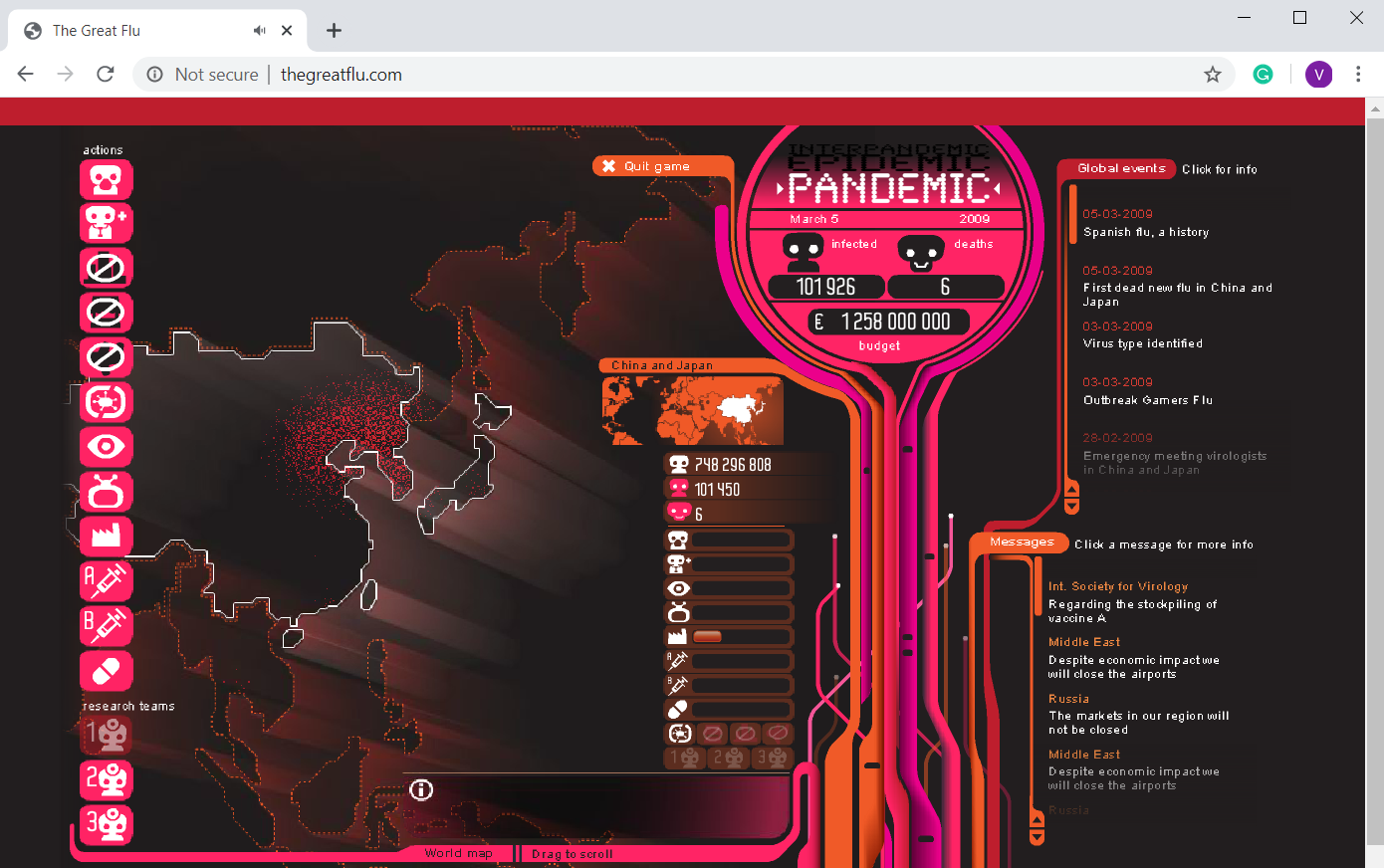 Pandemic Game on Internet