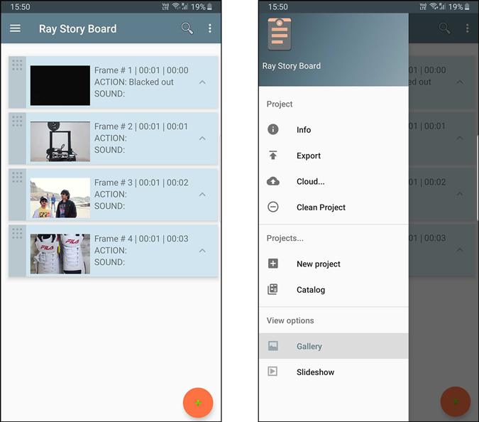 Ray Story Board app showing the menu options