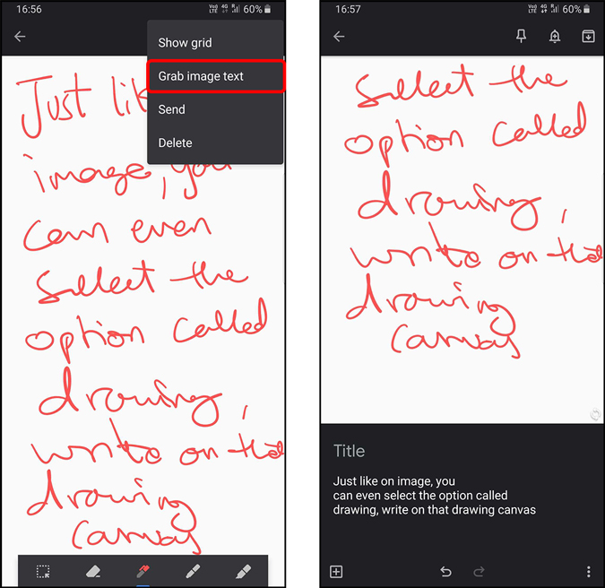 Converting drawing into text in Google Keep