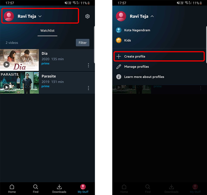 creating profile on Prime Video android app