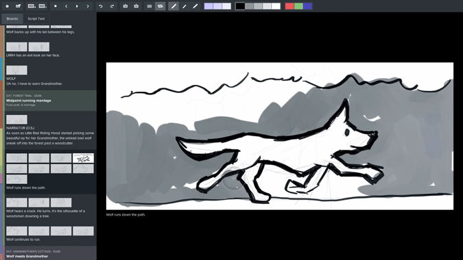 drawing a dog image on storyboard fountain