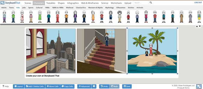 Displaying charactors on the Storyboard That app