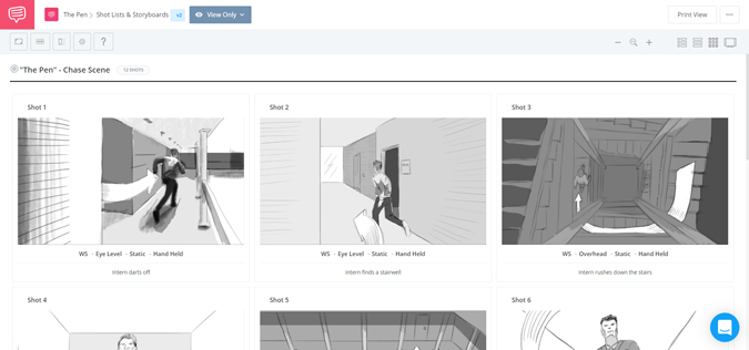 Studio Binder app showing the storyboard