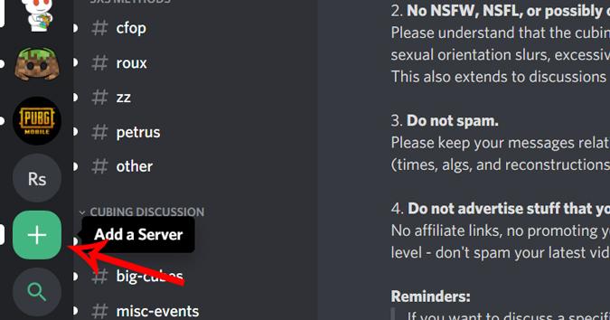 Adding a server on discord