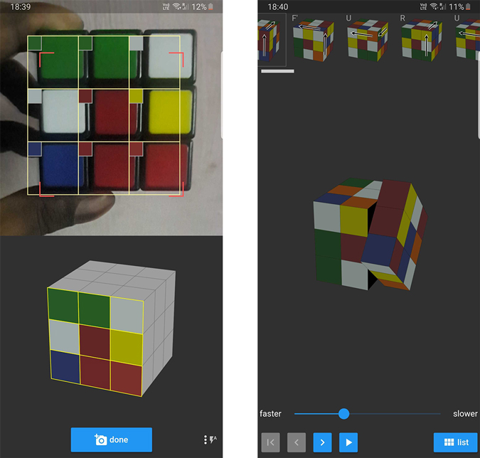 Screenshot of Asolver solving the cube