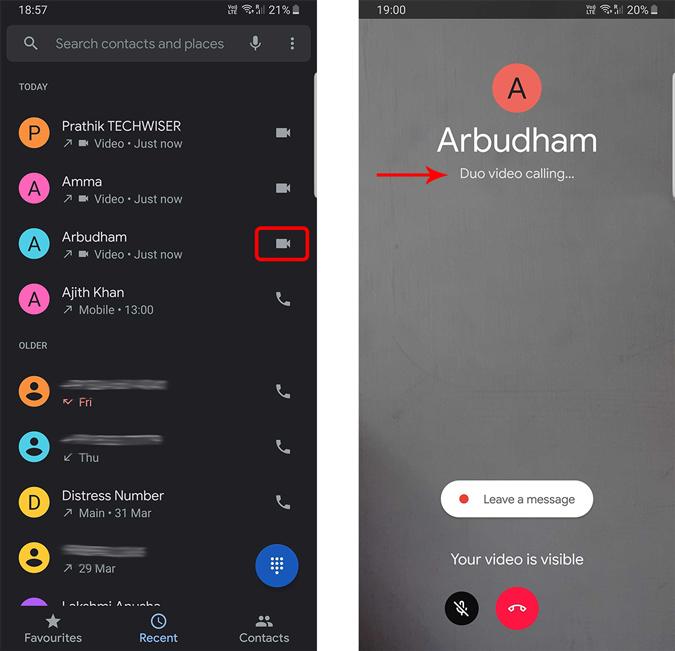 Making Duo calls from phone app