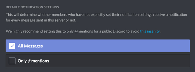 changing notification settings on discord server