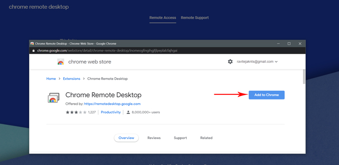 downloading chrome remote desktop by adding extension to chrome
