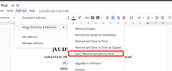 clicking on don't remove but save to drive to save images to drive