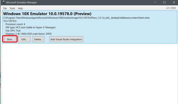 Starting Windows 10X On Emulator