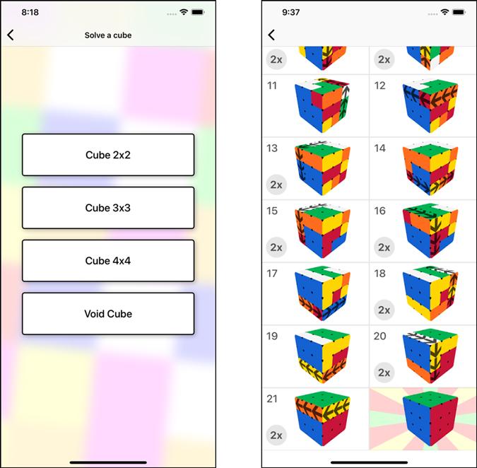 screenshot of magic cube solver app
