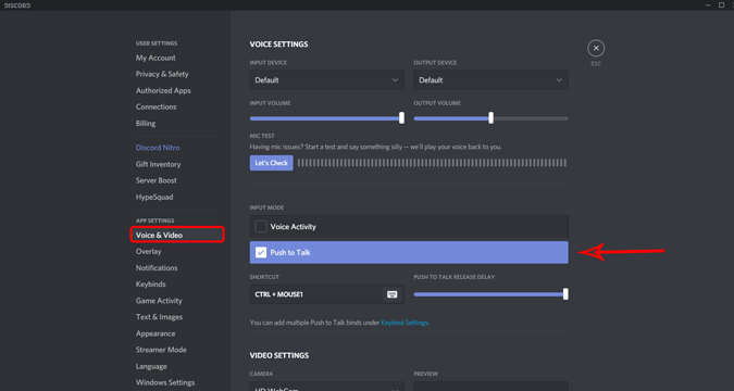 Enabling Push to talk feature on Discord settings