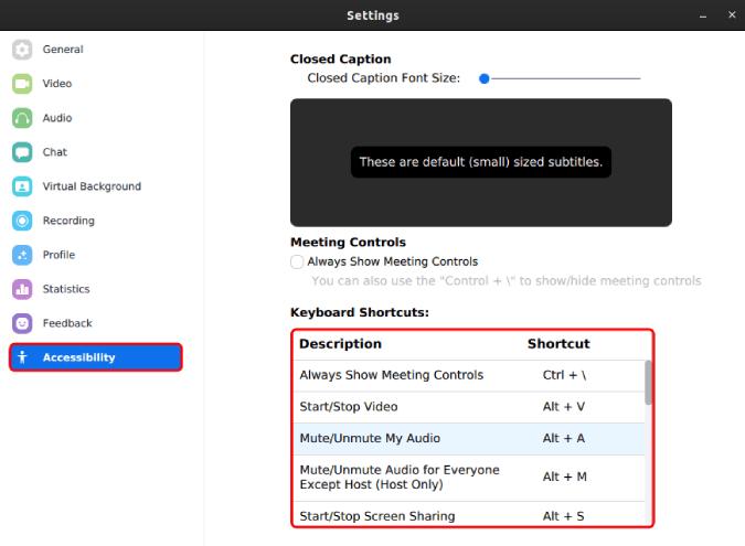 keyboard shortcuts for Zoom meetings
