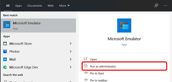 Opening Windows Emulator as administrator