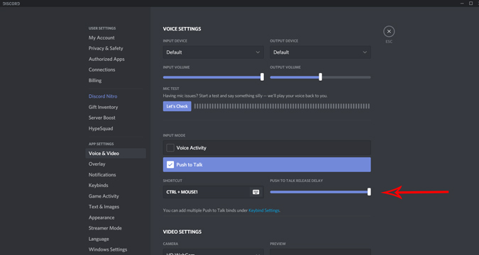 Setting delay settings for Push to Talk on Discord