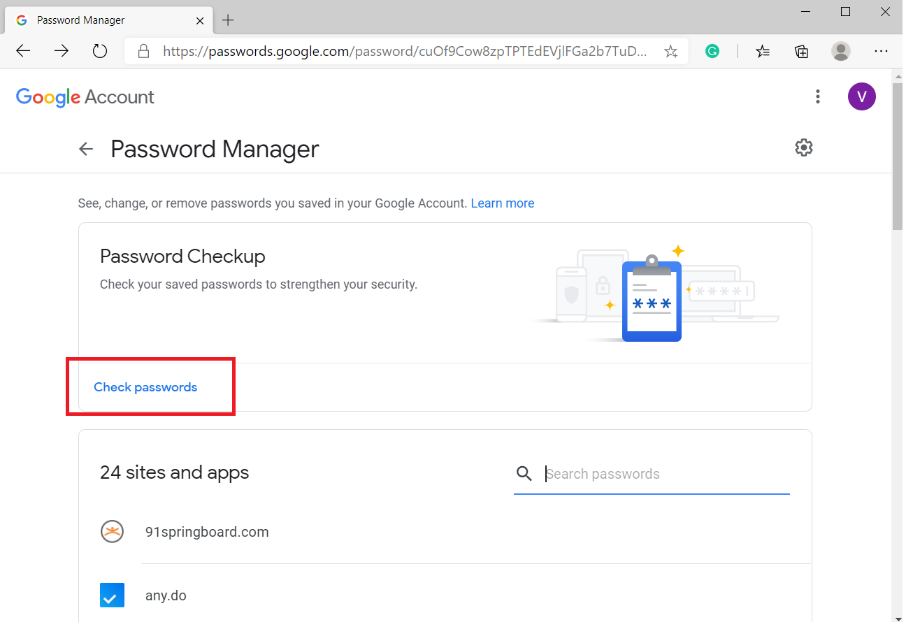 check passwords in google password manager
