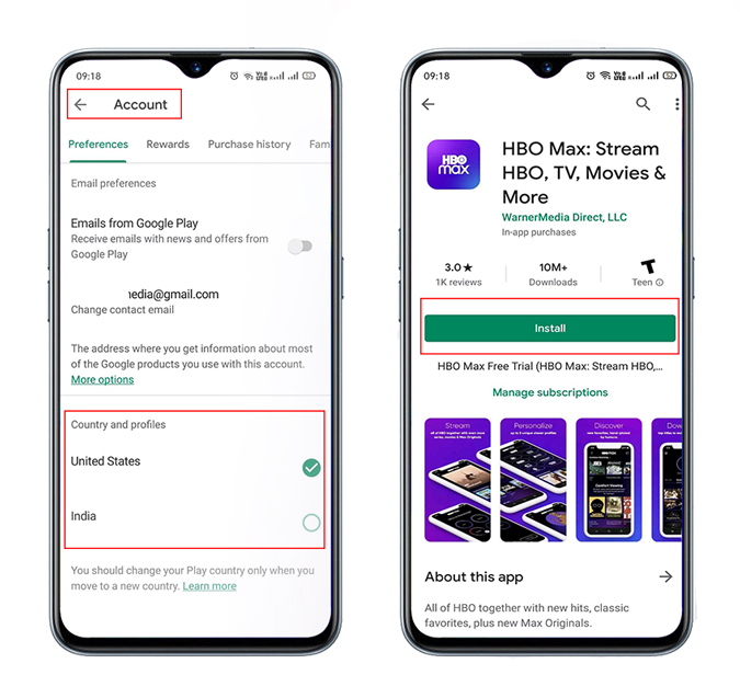 app store and play store to get HBO Max outside US