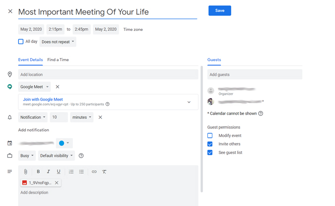Schedule Meetings in Google Calendar