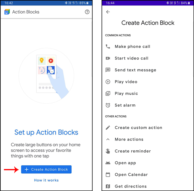 selecting a action for the action block