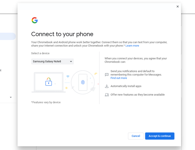 connecting android phone to Chromebook