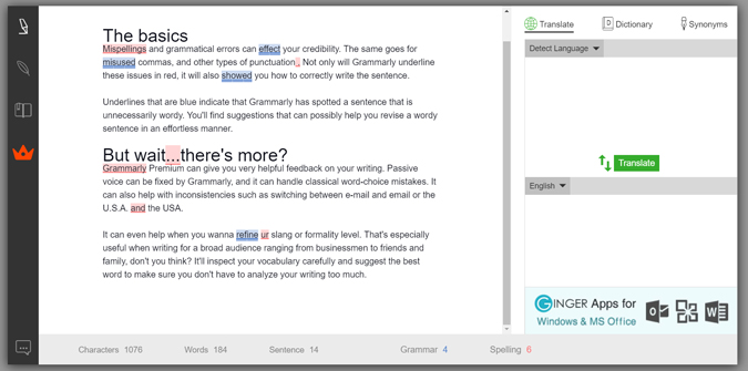 editing text on the Ginger web app