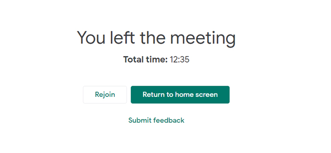 Google meet showing total time after the call ended