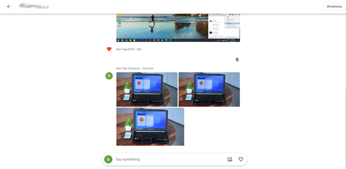 image showing photos in google Photo message