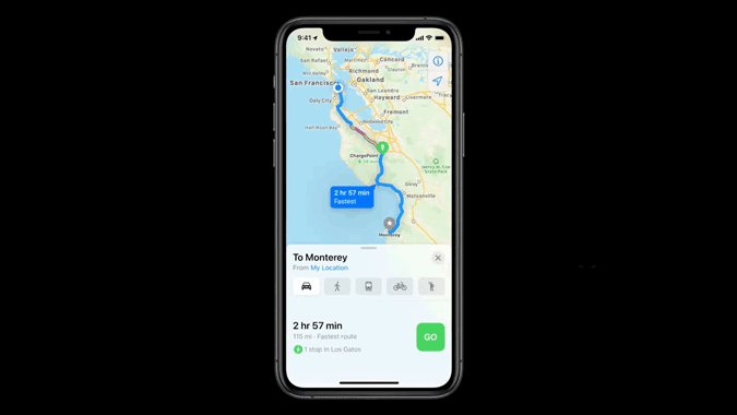 EV Rounting features on Apple Maps