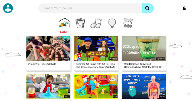 YouTube Kids home page on Chromebook