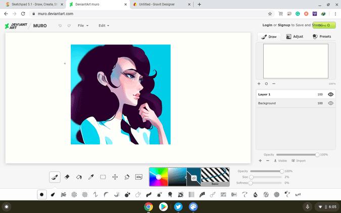 using Daviant art on Chromebook