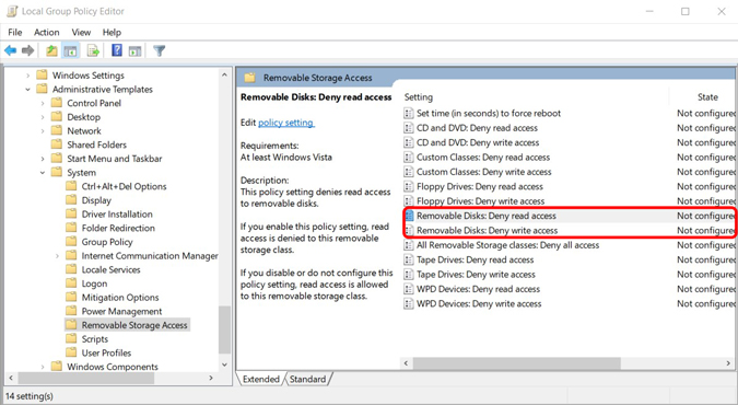 Removing removable disc access on group Policy